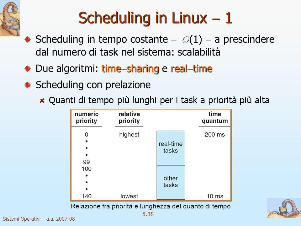Scheduling in Linux  1 Scheduling in tempo costante  O (1)  a prescindere dal numero di task nel sistema: scalabilità.