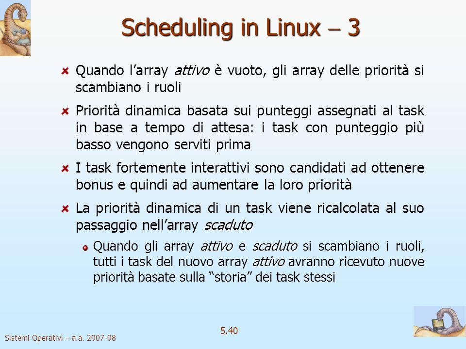 Scheduling in Linux  3 Quando l'array attivo è vuoto, gli array delle priorità si scambiano i ruoli.