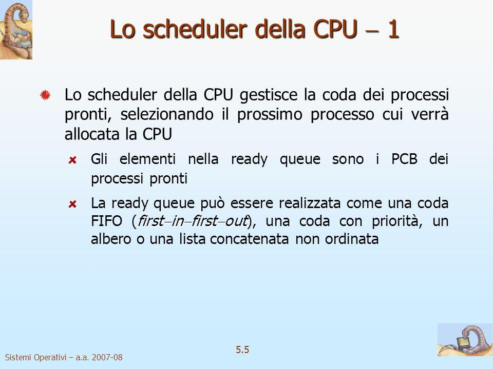 Lo scheduler della CPU  1