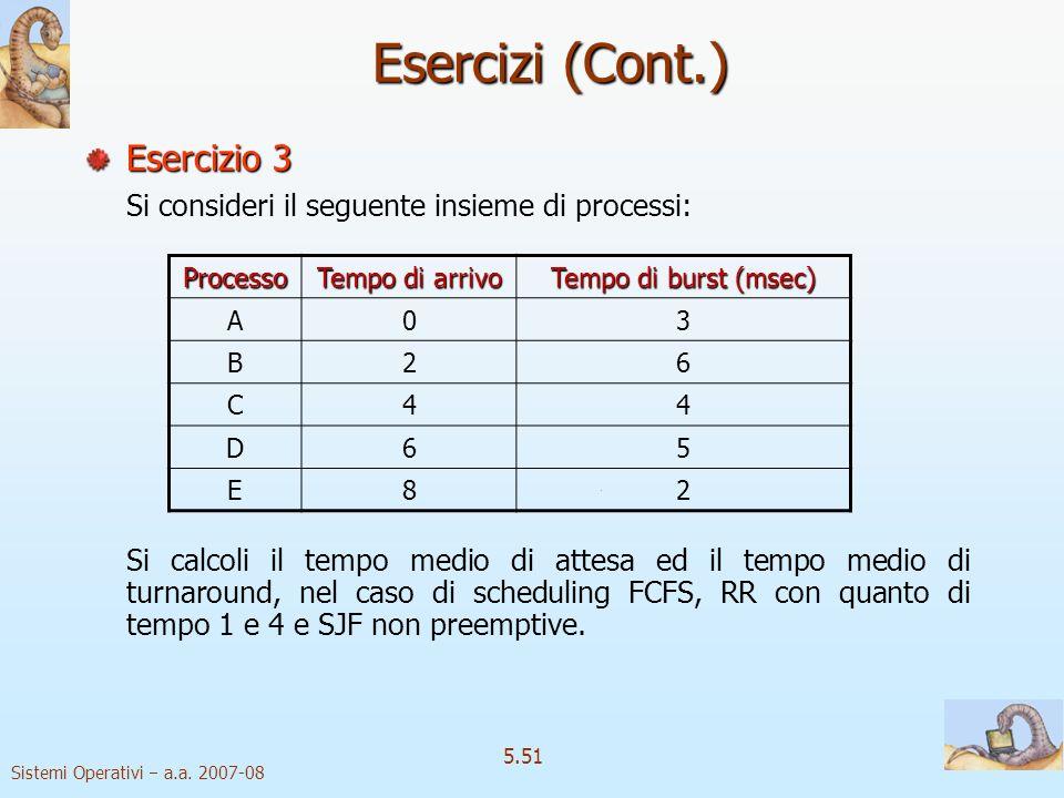 Esercizi (Cont.) Esercizio 3
