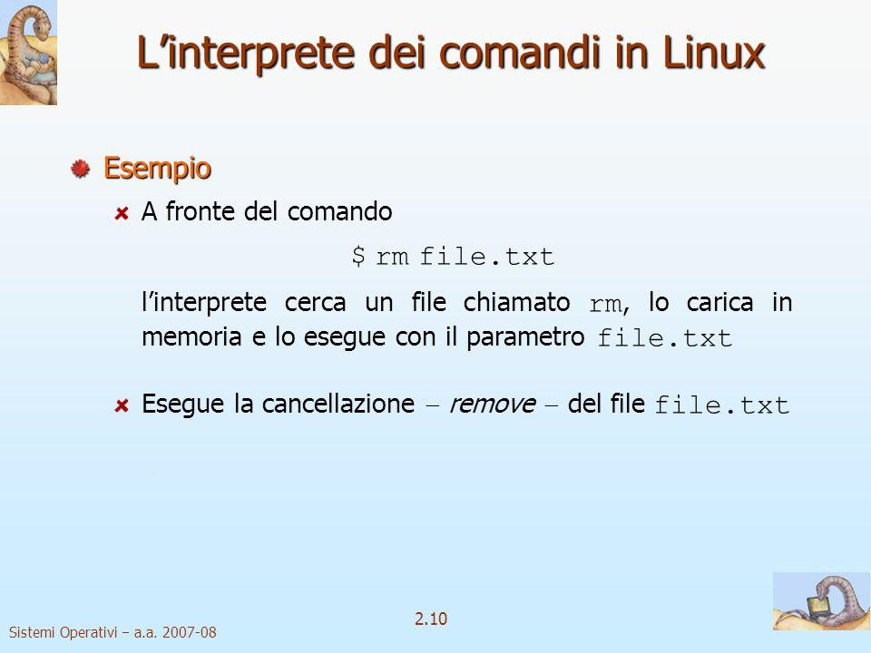 L'interprete dei comandi in Linux