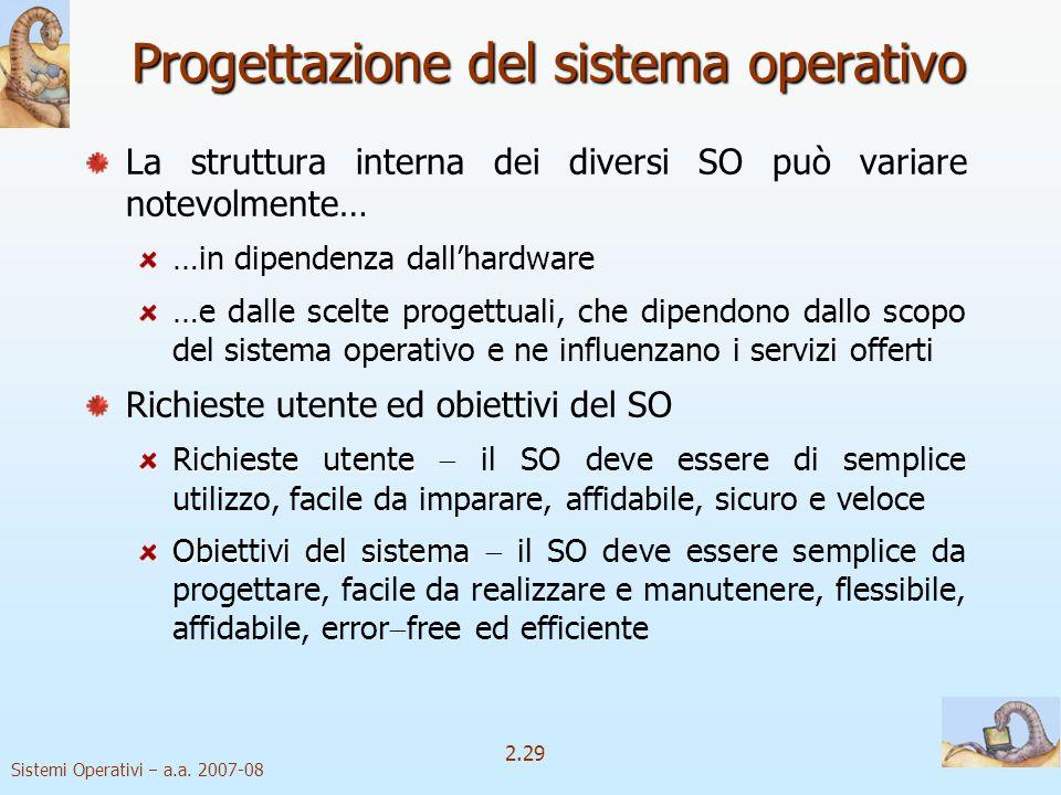 Progettazione del sistema operativo