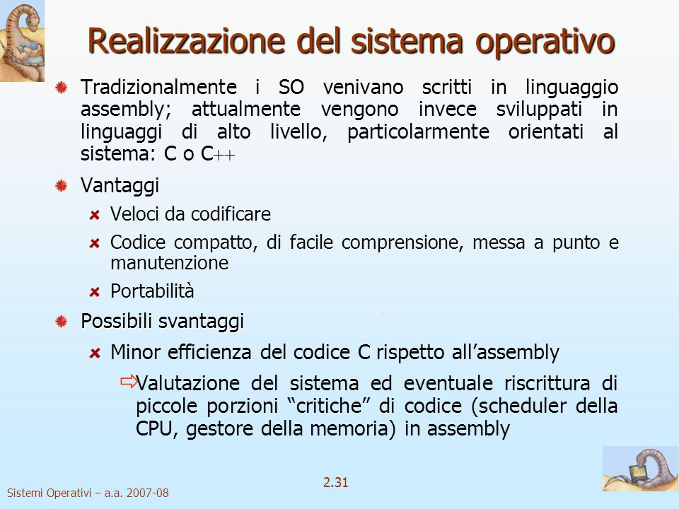 Realizzazione del sistema operativo
