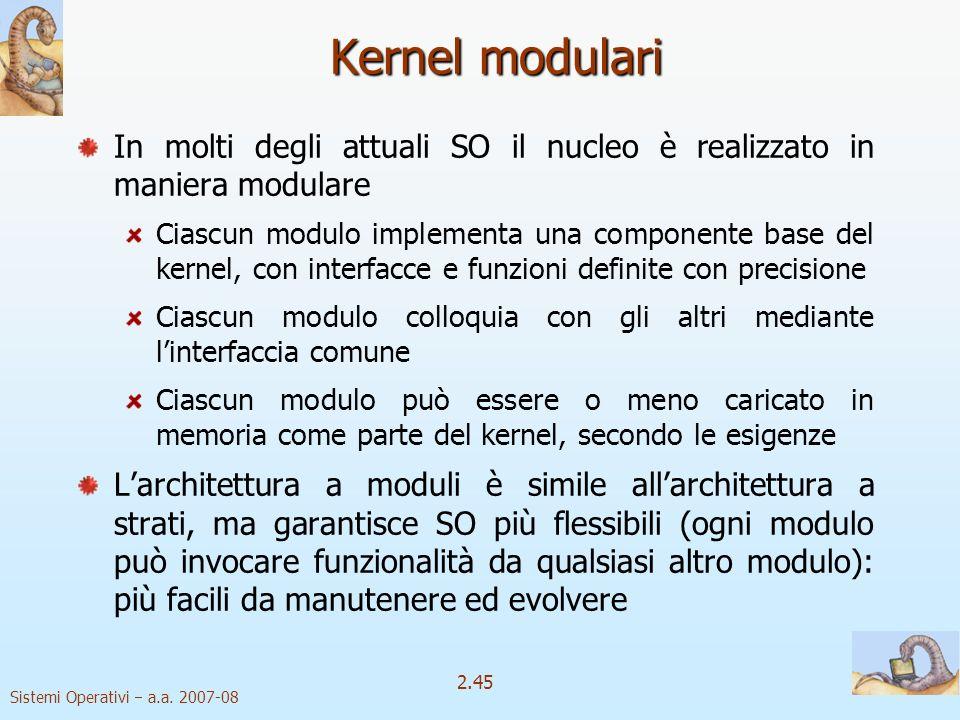 Kernel modulari In molti degli attuali SO il nucleo è realizzato in maniera modulare.