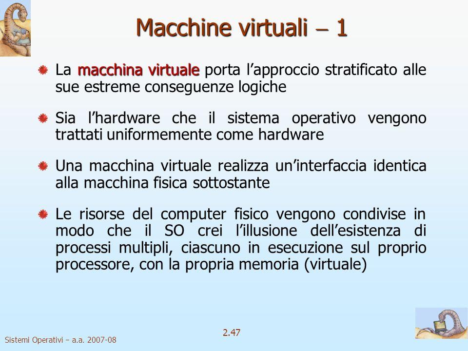 Macchine virtuali  1 La macchina virtuale porta l'approccio stratificato alle sue estreme conseguenze logiche.