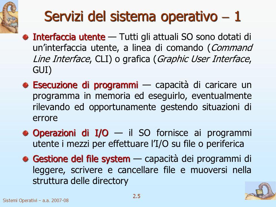 Servizi del sistema operativo  1