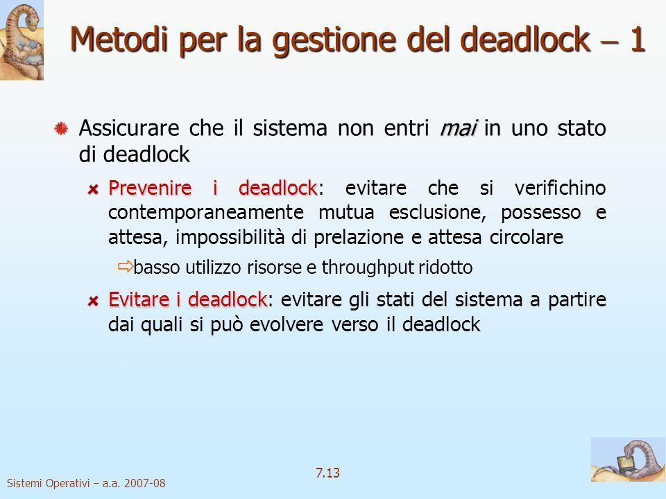 Metodi per la gestione del deadlock  1