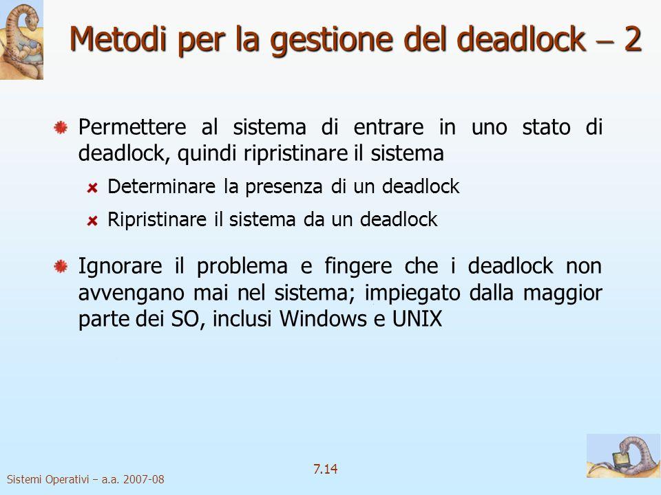 Metodi per la gestione del deadlock  2