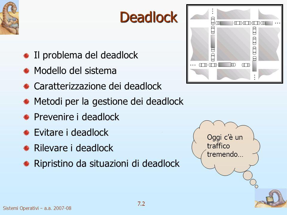 Deadlock Il problema del deadlock Modello del sistema