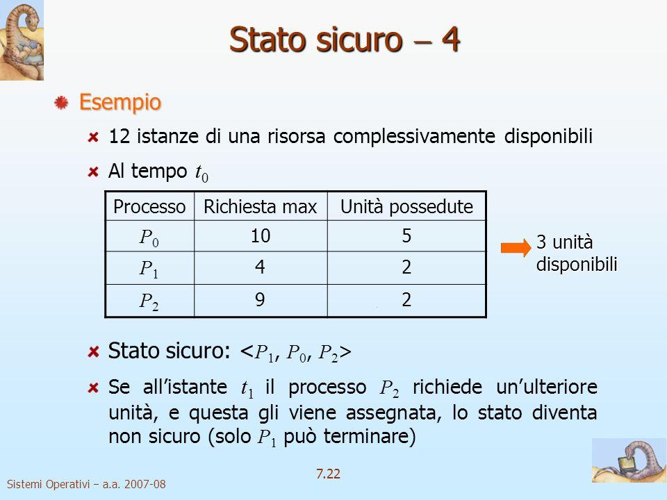 Stato sicuro  4 Esempio Stato sicuro: <P1, P0, P2>