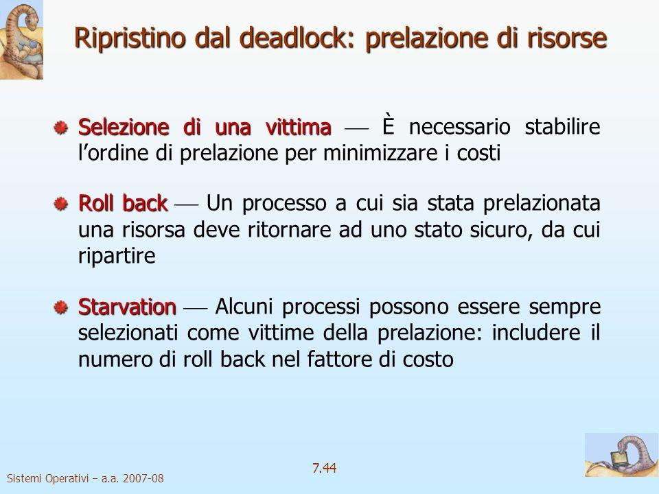 Ripristino dal deadlock: prelazione di risorse