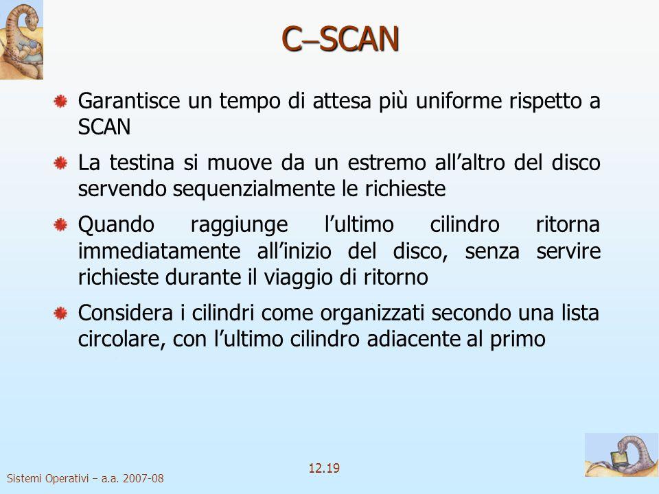 CSCAN Garantisce un tempo di attesa più uniforme rispetto a SCAN