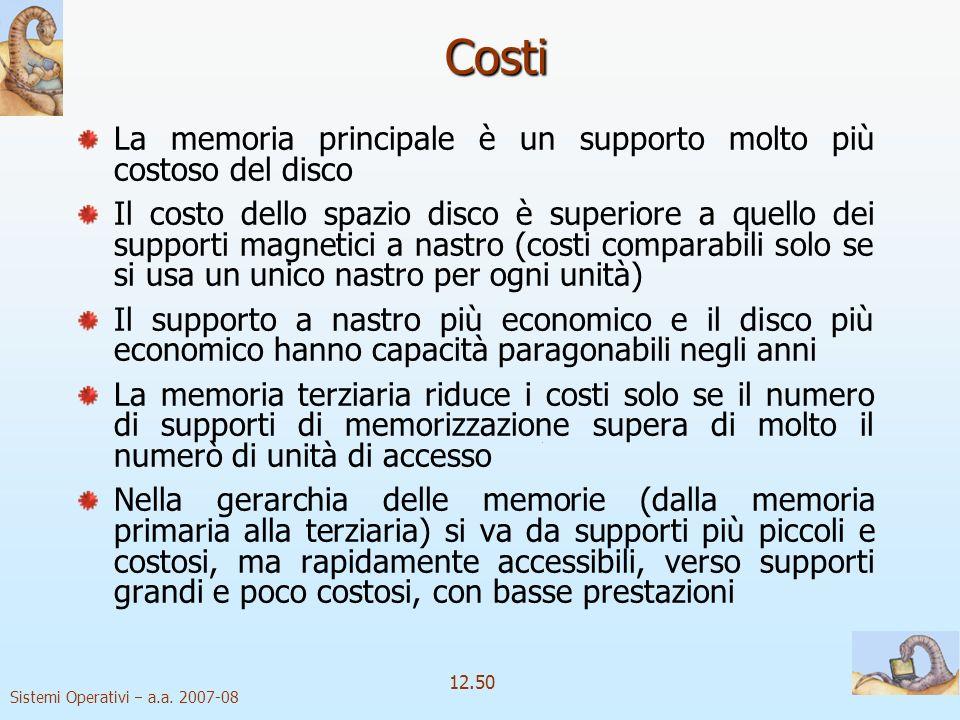 Costi La memoria principale è un supporto molto più costoso del disco