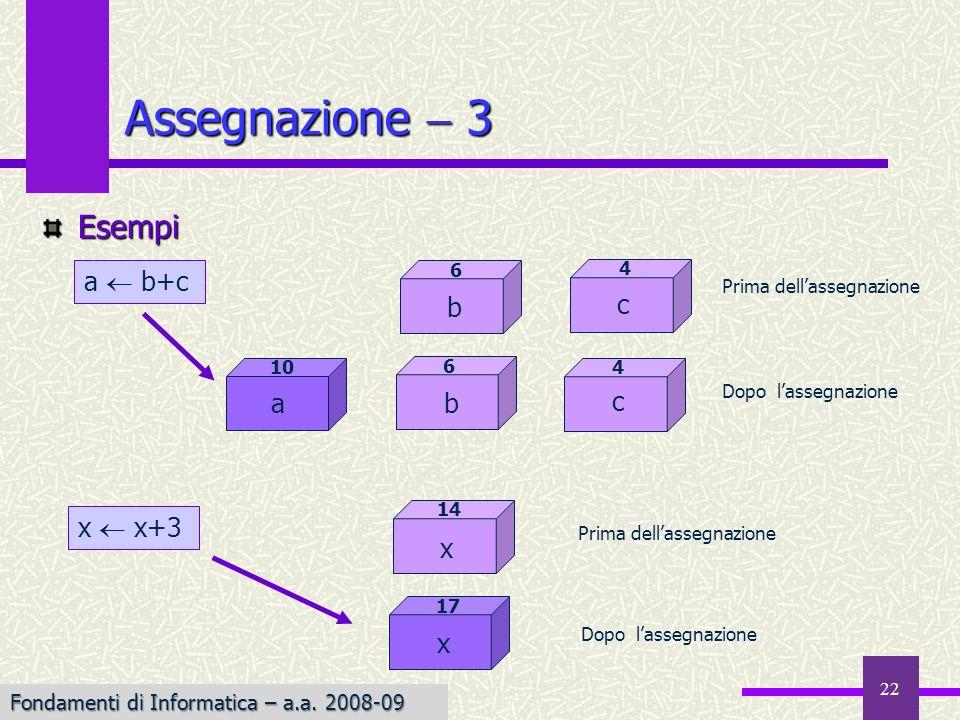 Assegnazione  3 Esempi a  b+c b c c a b x  x+3 x x