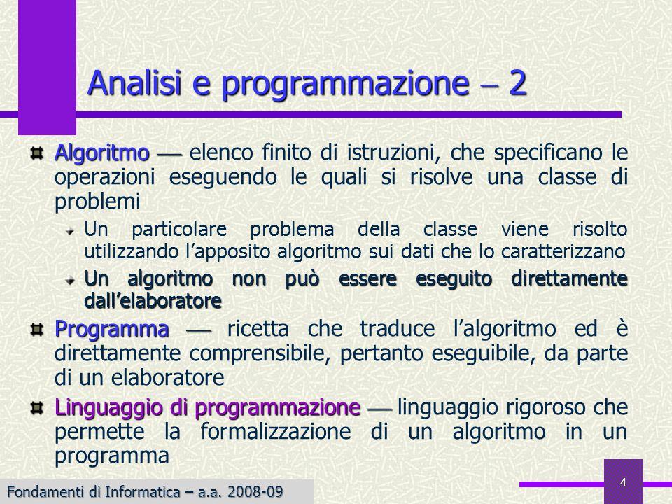 Analisi e programmazione  2