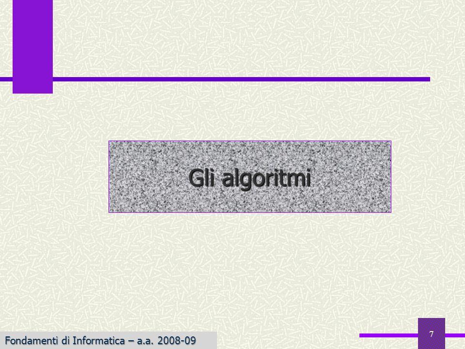 Gli algoritmi Fondamenti di Informatica – a.a. 2008-09