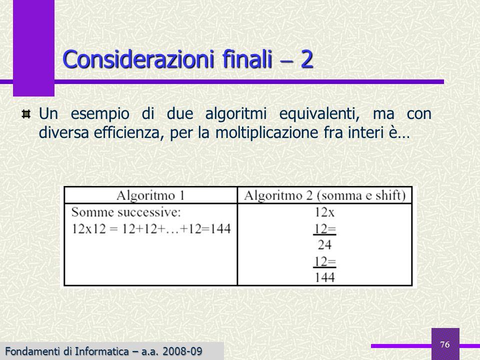 Considerazioni finali  2