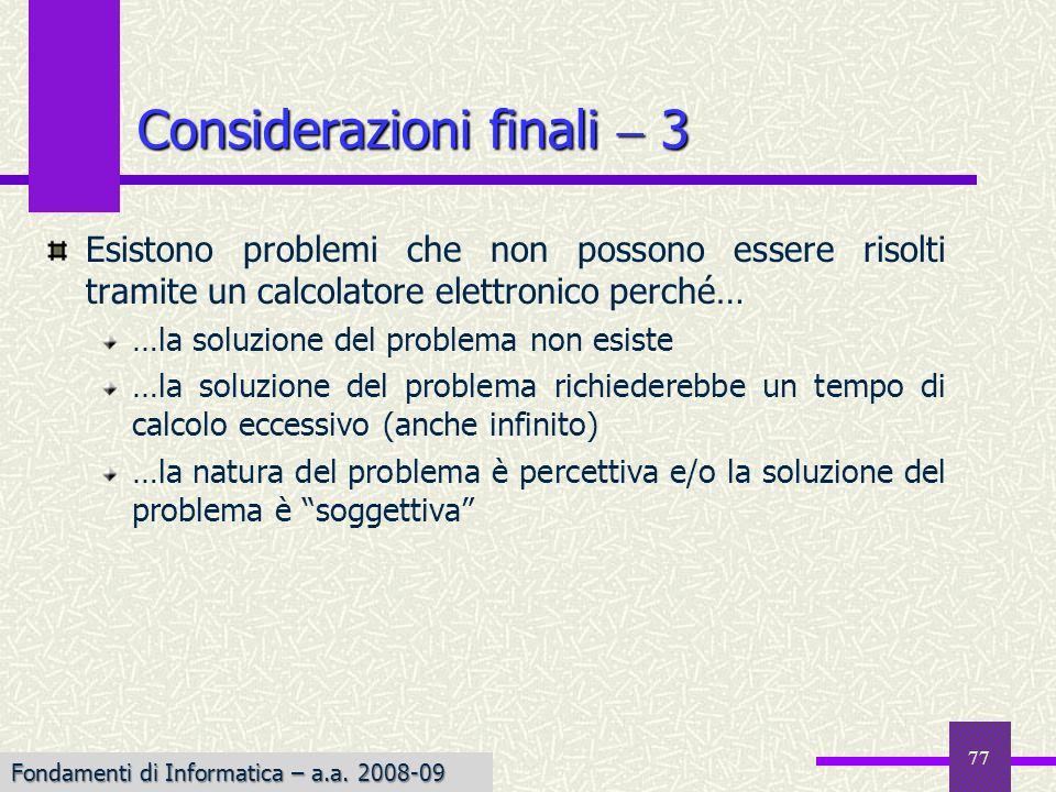 Considerazioni finali  3