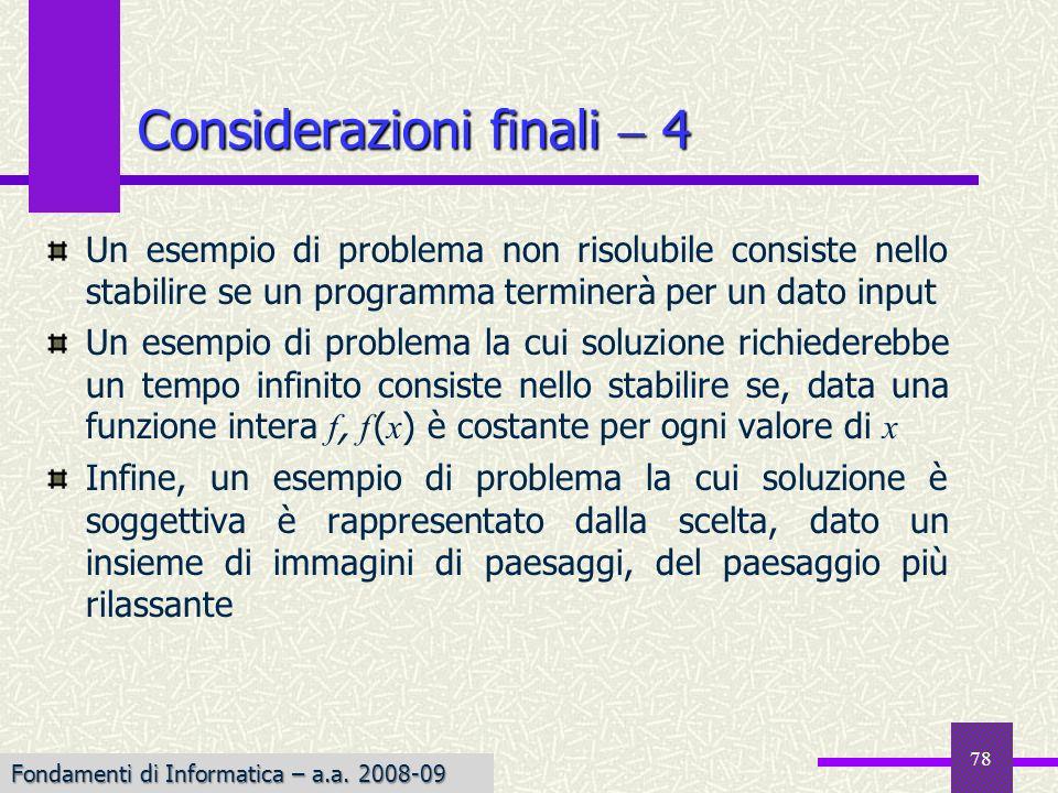 Considerazioni finali  4