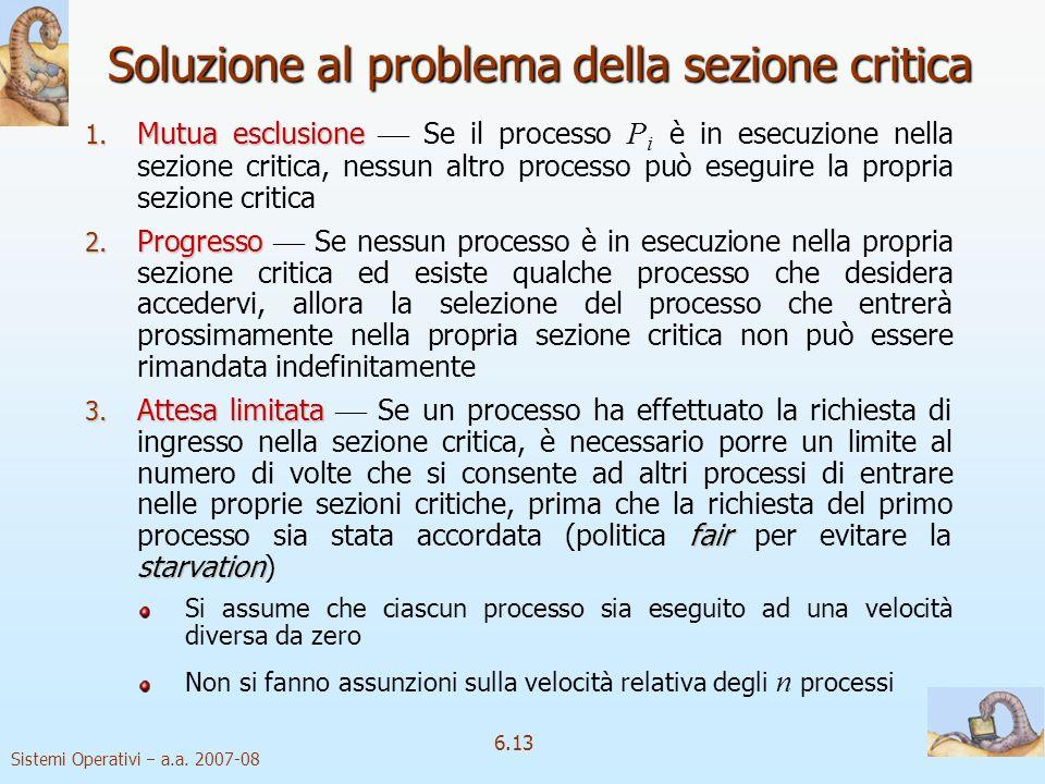 Soluzione al problema della sezione critica