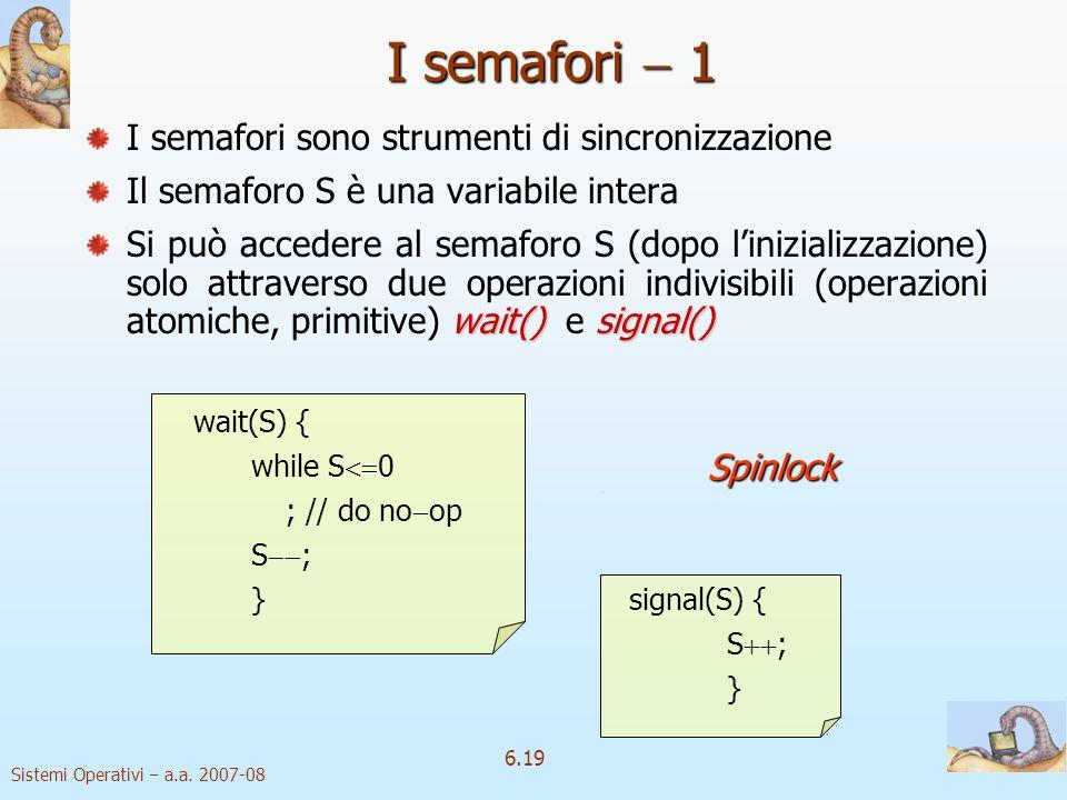 I semafori  1 I semafori sono strumenti di sincronizzazione