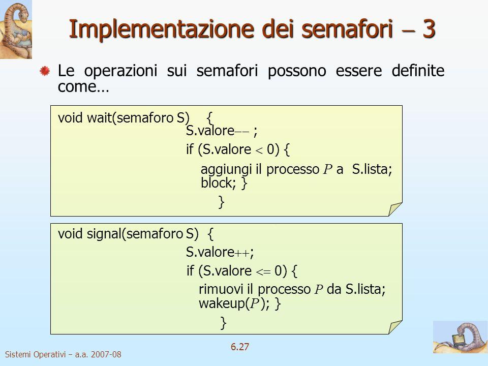 Implementazione dei semafori  3