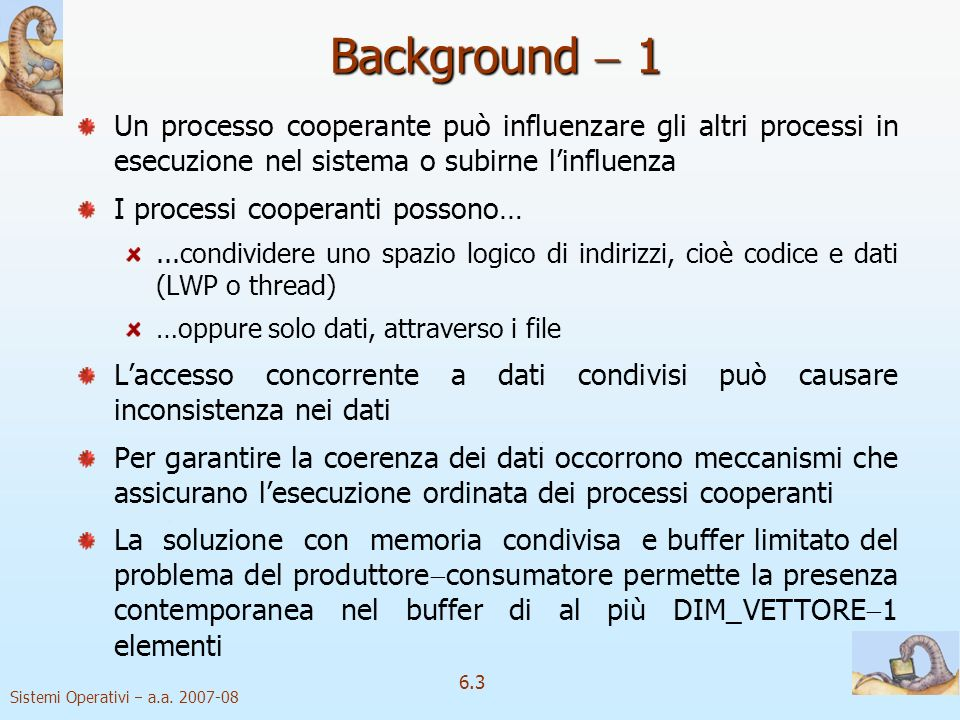 Background  1 Un processo cooperante può influenzare gli altri processi in esecuzione nel sistema o subirne l'influenza.