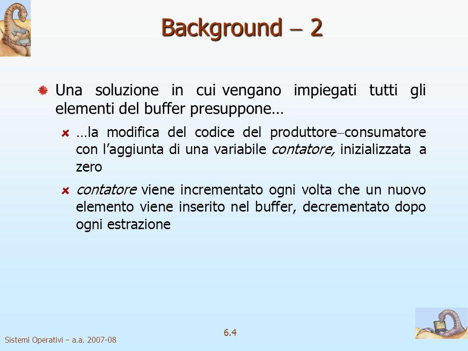 Background  2 Una soluzione in cui vengano impiegati tutti gli elementi del buffer presuppone…