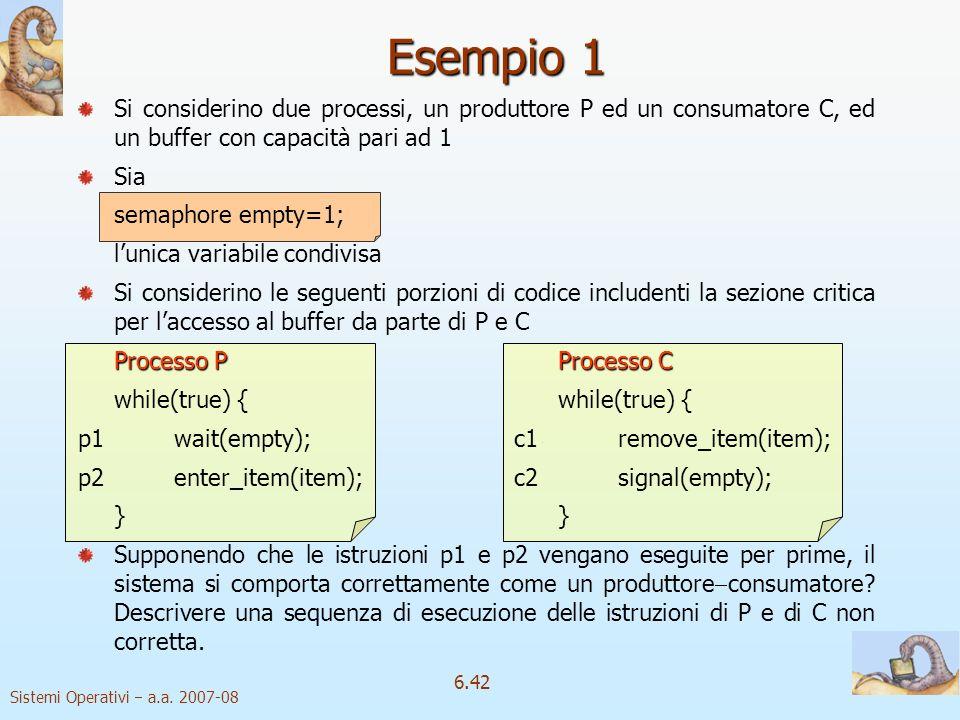 Esempio 1 Si considerino due processi, un produttore P ed un consumatore C, ed un buffer con capacità pari ad 1.