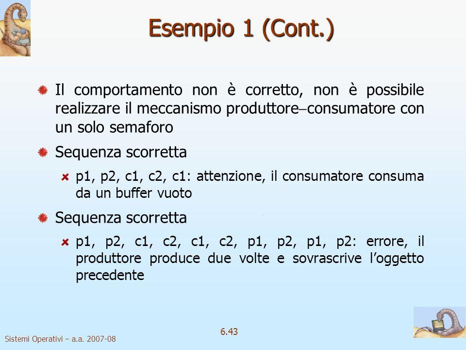 Esempio 1 (Cont.) Il comportamento non è corretto, non è possibile realizzare il meccanismo produttoreconsumatore con un solo semaforo.