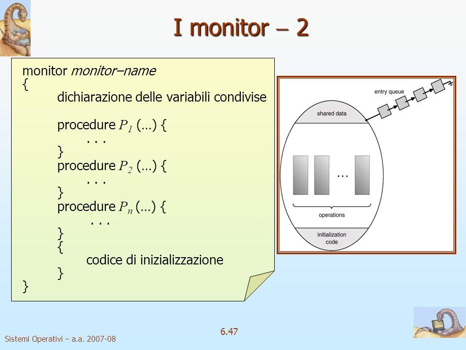 I monitor  2 { dichiarazione delle variabili condivise