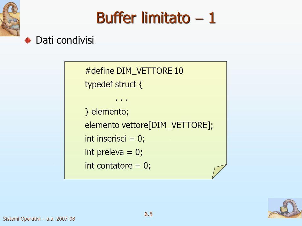 Buffer limitato  1 Dati condivisi #define DIM_VETTORE 10