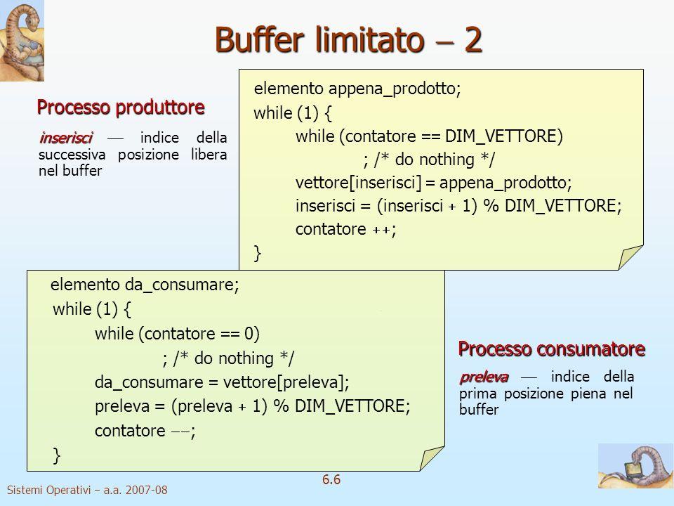 Buffer limitato  2 elemento appena_prodotto; Processo produttore