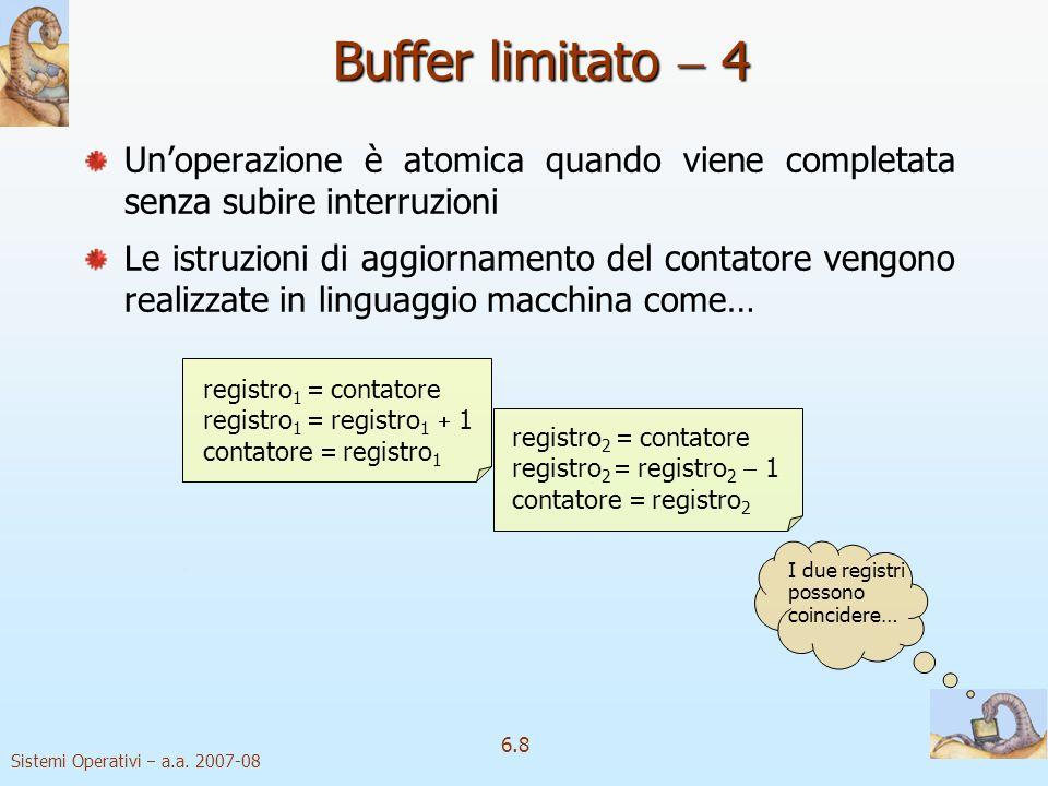Buffer limitato  4 Un'operazione è atomica quando viene completata senza subire interruzioni.
