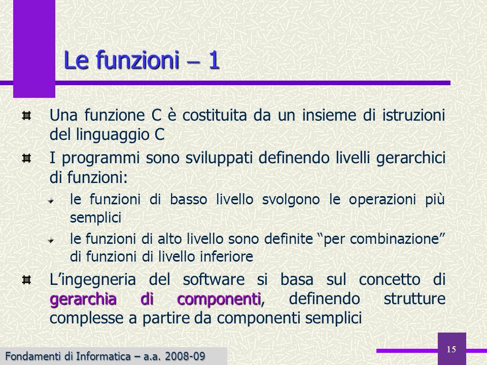 Le funzioni  1 Una funzione C è costituita da un insieme di istruzioni del linguaggio C.