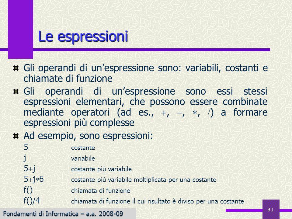 Le espressioni Gli operandi di un'espressione sono: variabili, costanti e chiamate di funzione.