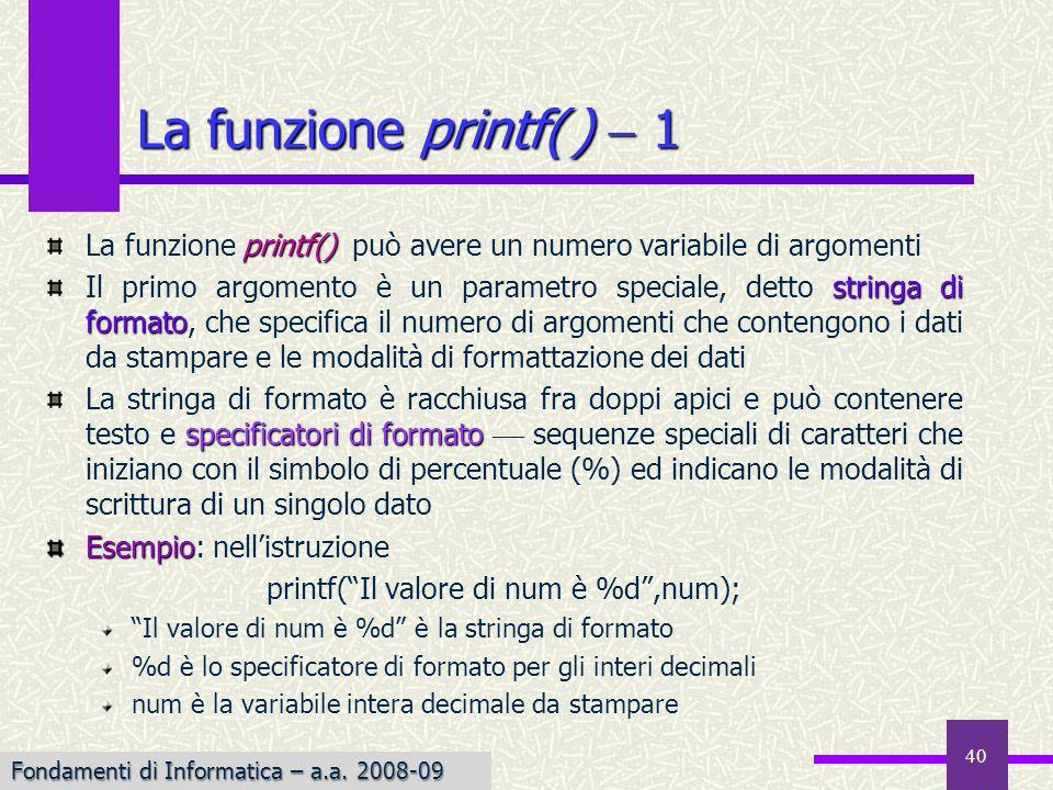 printf( Il valore di num è %d ,num);