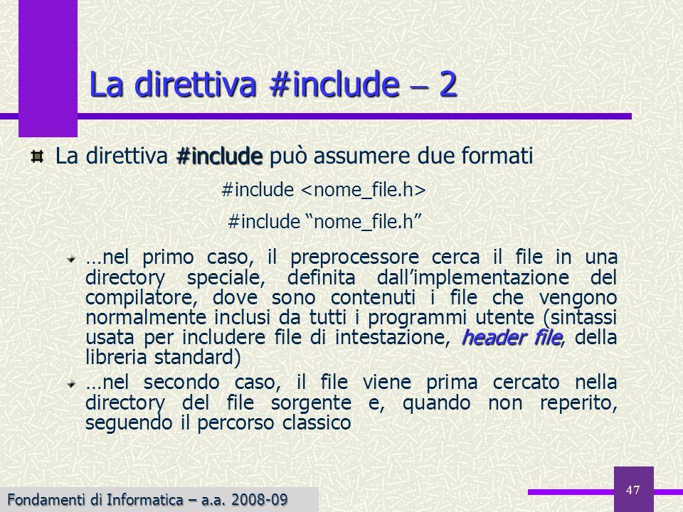 La direttiva #include  2