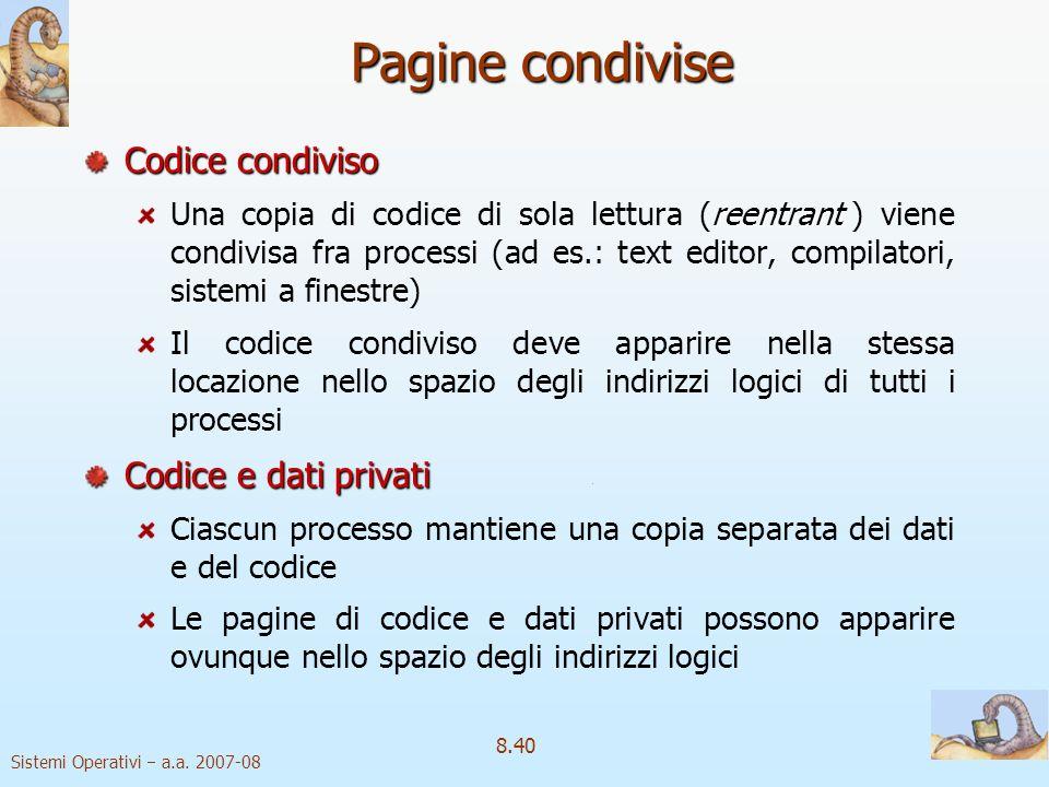 Pagine condivise Codice condiviso Codice e dati privati