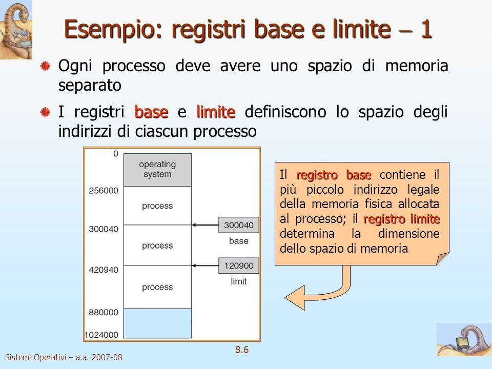 Esempio: registri base e limite  1