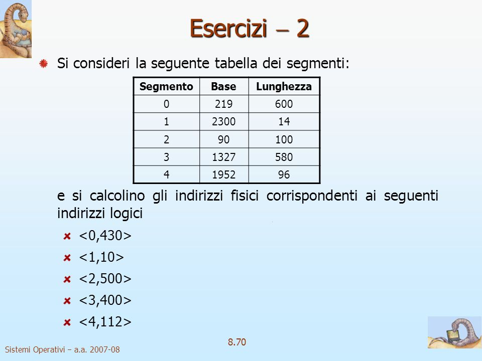 Esercizi  2 Si consideri la seguente tabella dei segmenti: