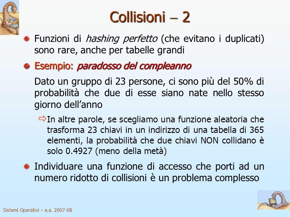 Collisioni  2 Funzioni di hashing perfetto (che evitano i duplicati) sono rare, anche per tabelle grandi.