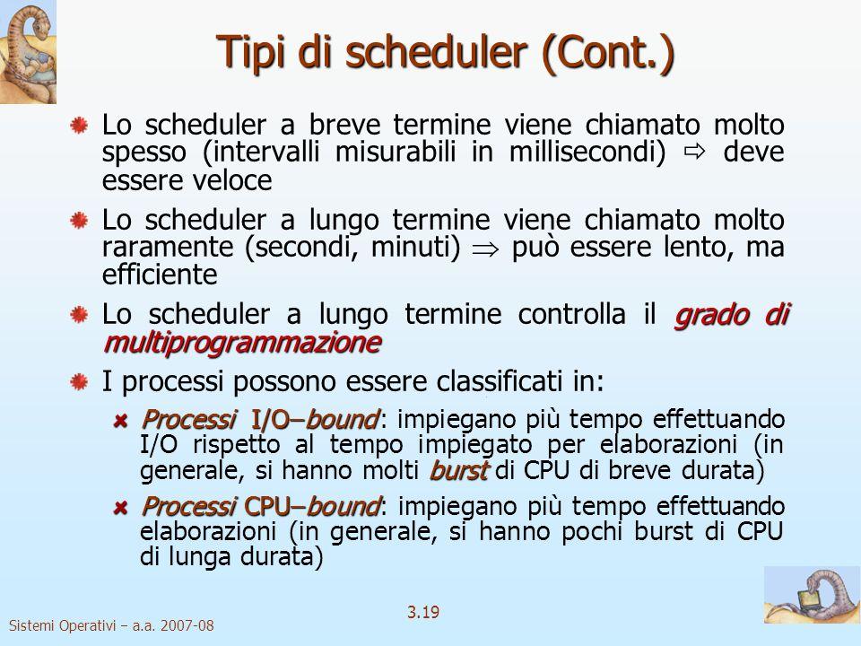 Tipi di scheduler (Cont.)