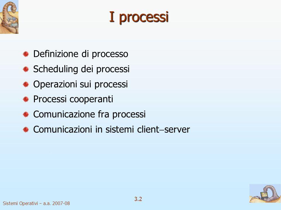 I processi Definizione di processo Scheduling dei processi