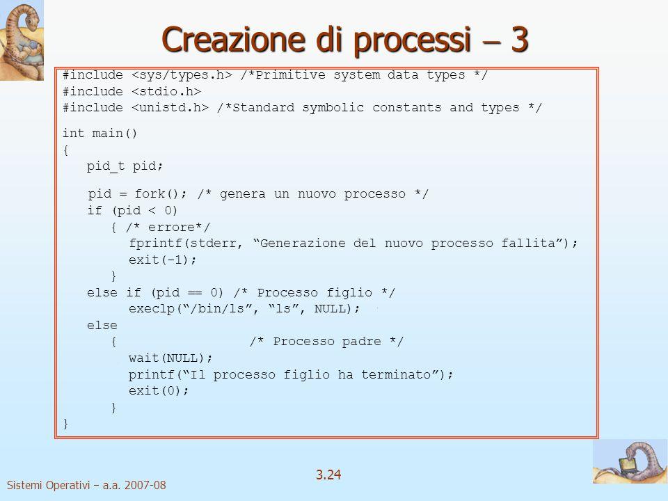 Creazione di processi  3
