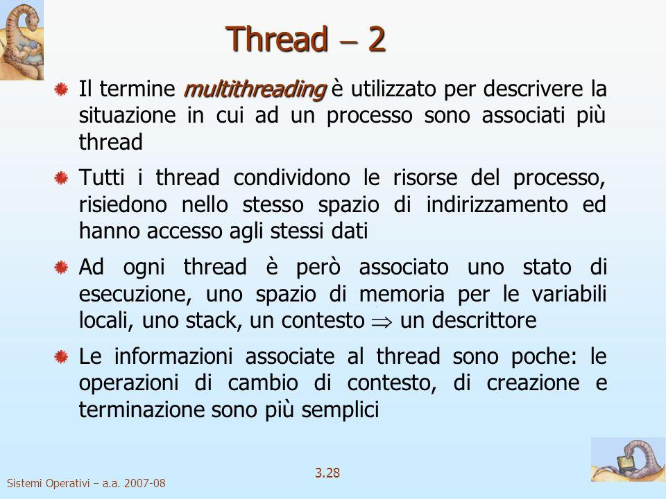 Thread  2 Il termine multithreading è utilizzato per descrivere la situazione in cui ad un processo sono associati più thread.