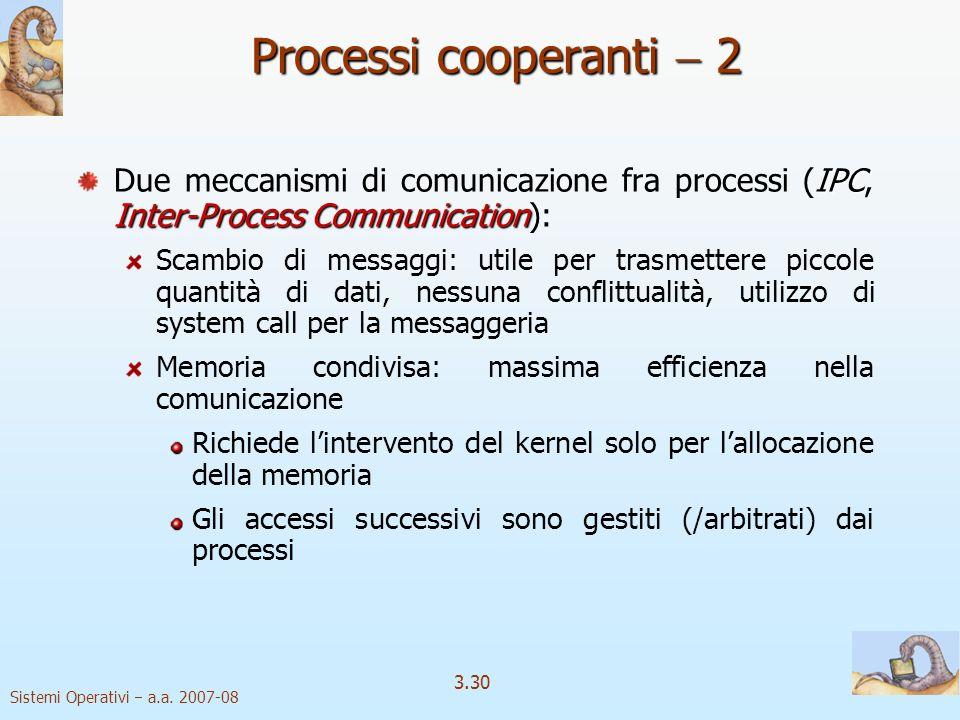 Processi cooperanti  2 Due meccanismi di comunicazione fra processi (IPC, Inter-Process Communication):