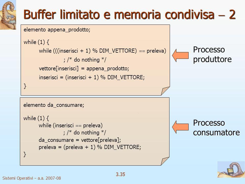 Buffer limitato e memoria condivisa  2