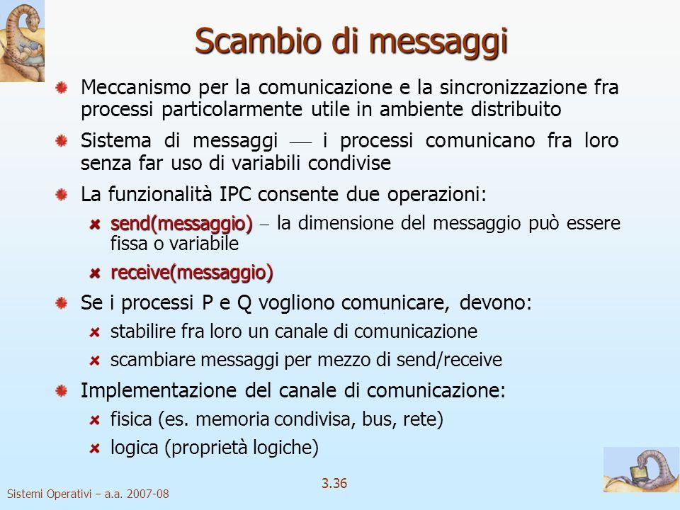 Scambio di messaggi Meccanismo per la comunicazione e la sincronizzazione fra processi particolarmente utile in ambiente distribuito.