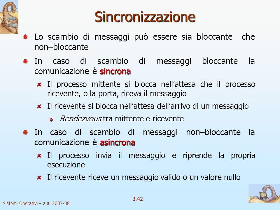 Sincronizzazione Lo scambio di messaggi può essere sia bloccante che non–bloccante.